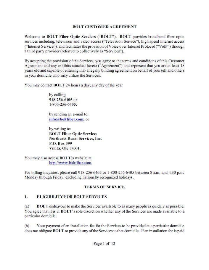 Bolt Fiber Optic Services Terms & Conditions