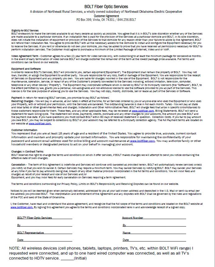 Link to pdf copy of the BOLT TV Service Customer Agreement