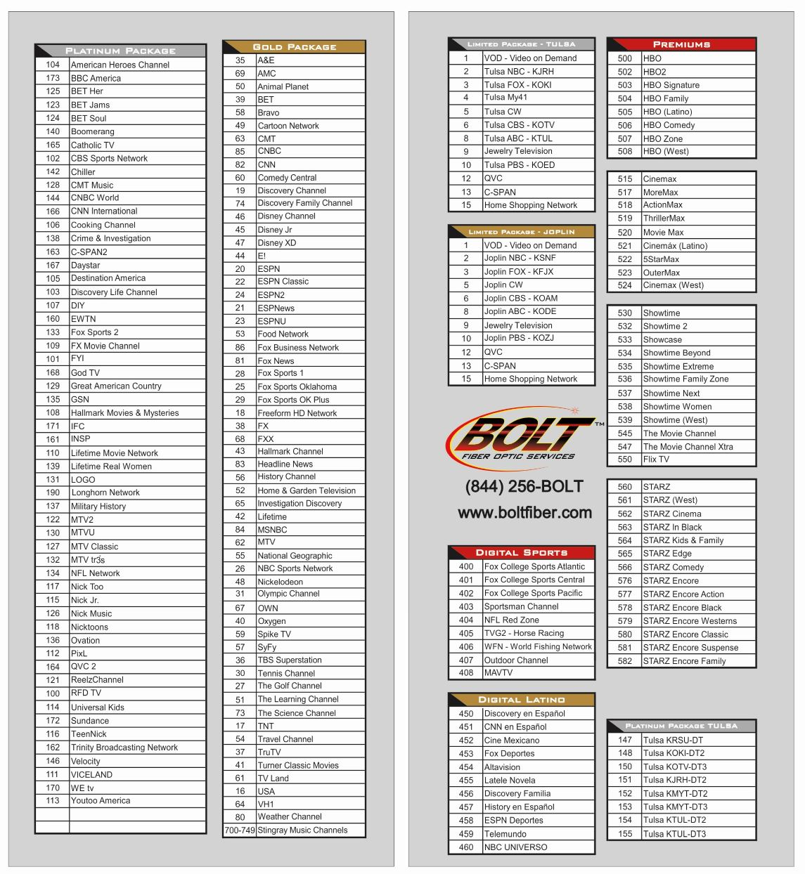 Printable BOLT Channel Line-up Card